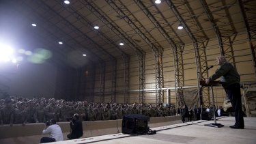 Trump speaks at a hanger rally at Al-Asad Air Base, Iraq.