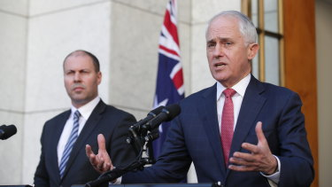 Prime Minister Malcolm Turnbull and Minister for Environment and Energy Josh Frydenberg on Tuesday.