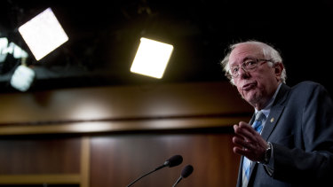Senator Bernie Sanders speaks at a news conference on Capitol Hill in Washington.