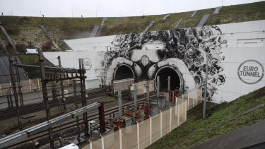 Temporarily closed: the entrance of the Channel tunnel in Coquelles, northern France.
