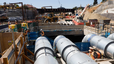 Crews are taking advantage of the quieter summer months. This is the Metro Tunnel site at South Yarra.