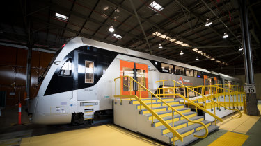 A prototype of the new intercity trains, which do not have a firm date to enter service.