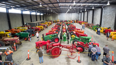 More than 100 tractors were collected in this purpose-built shed in secret.