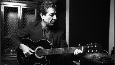 Leonard Cohen in a New York recording studio in the mid-1980s.