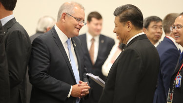Prime Minister Scott Morrison meets with China's President Xi Jinping during the G20 in Japan on June 28, 2019.