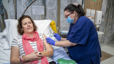 Helen Sullivan is one of two volunteers who were the first to be given a COVID-19 vaccine candidate developed by the University of Queensland.