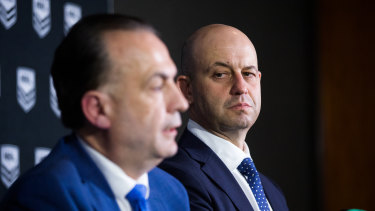 Todd Greenberg (right) and Peter V'landys aren't seeing eye to eye at the moment as discussion around the future leadership of the game heats up.