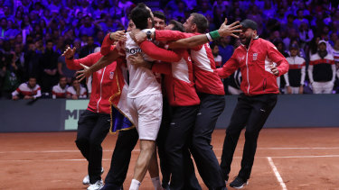 Marin Cilic is mobbed by Croatian teammates after they won the Davis Cup.