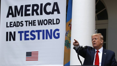 President Donald Trump speaks about coronavirus at a press briefing in the Rose Garden of the White House on Monday.