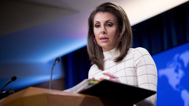 US State Department spokesperson Morgan Ortagus at the troops announcement on Monday.