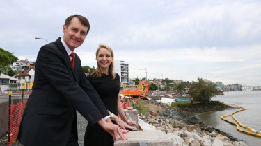Lord mayor Graham Quirk and councillor Amanda Cooper at Kingsford Smith Drive.