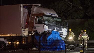 The scene of the crash on the Eastern Freeway, Kew.