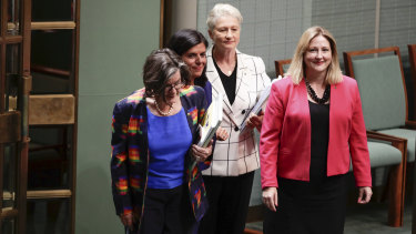 Crossbench MPs Cathy McGowan, Julia Banks, Kerryn Phelps and Rebekha Sharkie arrive for Question Time on Tuesday.