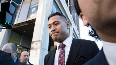 Israel Folau arrives at the Fair Work Commission on Friday. Folau is free to condemn homosexuals and sinners. He is putting his religious conviction over his contractual obligations, a choice he is free to make.
