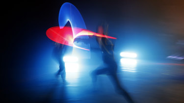 Competitors battle during a national lightsaber tournament in Beaumont-sur-Oise, north of Paris.
