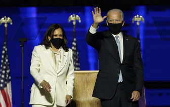 Joe Biden and Kamala Harris addressing  the world on Saturday night.