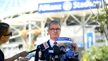 NSW Labor leader Michael Daley speaks to the media outside Allianz Stadium on Monday.