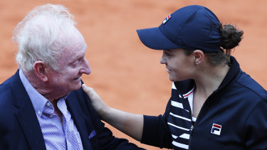 Grand praise: Australia's Ashleigh Barty with former Australian tennis ace Rod Laver, who believes she can win Wimbledon.