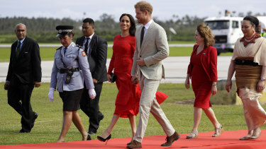 Britain's Prince Harry and Meghan, Duchess of Sussex arrive in Nuku'alofa,Tonga.