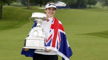 Hannah Green celebrates her breakthrough victory.