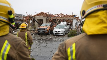 The scene after the gas explosion in the Christchurch suburb of Northwood.