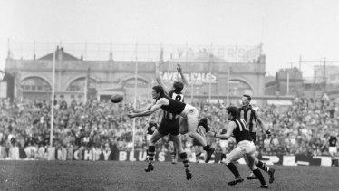 Serge Silvagni marks against Hawthorn in 1967.