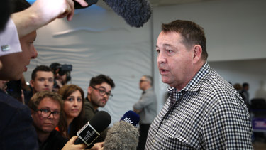 Steve Hansen arriving in New Zealand after the World Cup. He is heading back to Japan in a consultancy role with  Top League club Toyota Verblitz.