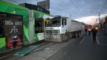 A truck at tram crash on Sydney road and Baxter street last year.
