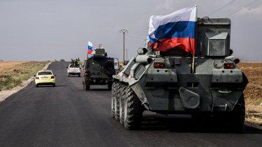 Russian military patrols near the Syria-Turkey border in north Syria.