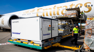 AstraZeneca's COVID-19 vaccine arrives at Sydney airport on February 28.