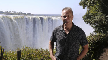 Getaway: Presenter David Reyne visits Victoria Falls.