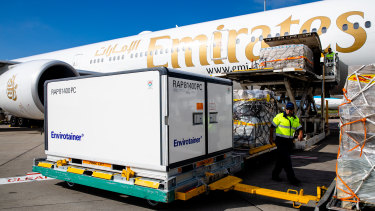 The first vials of the AstraZeneca COVID-19 vaccine arrive at Sydney Airport in February.