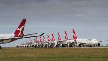 Qantas planes grounded at Avalon Airport in April.