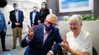 Prime Minister Scott Morrison arrives to receive his second Pfizer dose.