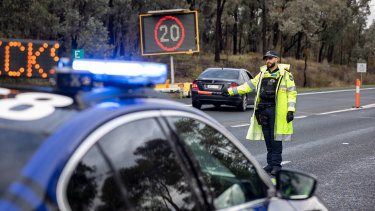 A Victoria Police checkpoint at Chiltern on the Hume Highway earlier this month.