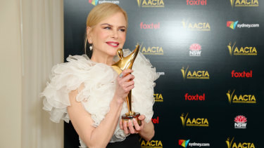 Nicole Kidman poses with the AACTA International Award for Best Supporting Actress.