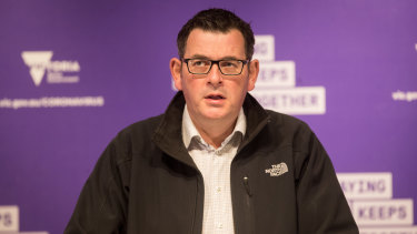 Victorian Premier Daniel Andrews announcing the border closure on Monday.