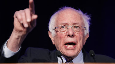 """Democratic presidential candidate Sen. Bernie Sanders speaks at the Clark County Democratic Party """"Kick-Off to Caucus 2020"""" event on Saturday, Feb. 15, 2020."""