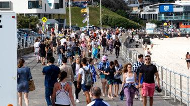 People enjoying the warm weather at Bondi Beach on Sunday.