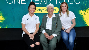 Support: Chloe Esposito, Dawn Fraser and Sally Pearson were in Sydney to mark one year to the Tokyo Olympics.