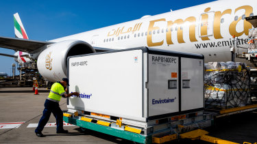 This shipment of AstraZeneca vaccines arrived at Sydney Airport from the UK and not Europe as first thought.