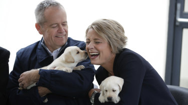 Opposition Leader Bill Shorten and Senator Kristina Keneally during a visit to Guide Dogs Victoria in Melbourne on Saturday.