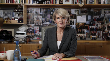 Foreign Affairs Minister Julie Bishop in her office at Parliament House in Canberra on  Monday.