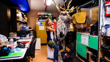 Props supervisor Sophie Jones backstage at the Capitol Theatre with Sven the reindeer.