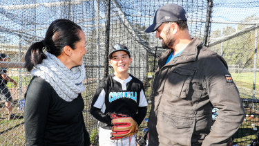 Parents Belinda and Chris Vella with Little League player, son Lachlan.