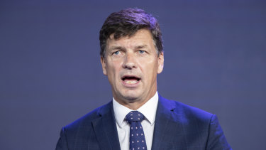 Energy Minister Angus Taylor at AFR's energy and climate summit on Monday.
