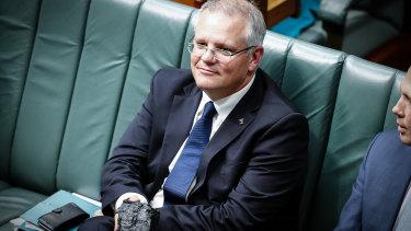 Then treasurer Scott Morrison with a lump of coal in Parliament in February 2017.