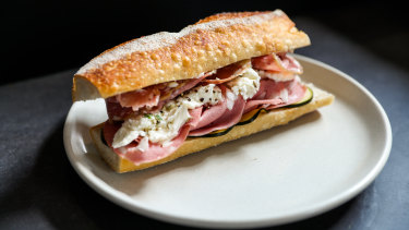 The Hot & Cold sandwich with mortadella, salami and bocconcini.