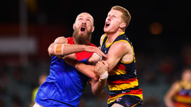 Max Gawn and Adelaide's Reilly O'Brien compete for the ball at Adelaide Oval on Wednesday night.