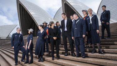 Designer Dion Lee and Sydney Opera House CEO Louise Herron (centre) at the unveiling of the Dion Lee uniform collection.